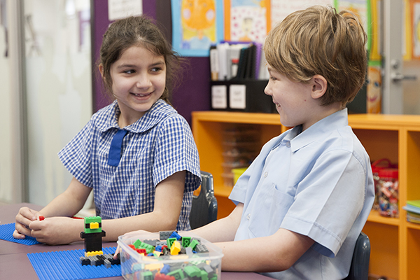St Pius Catholic Primary School Enmore - students playing with lego blocks